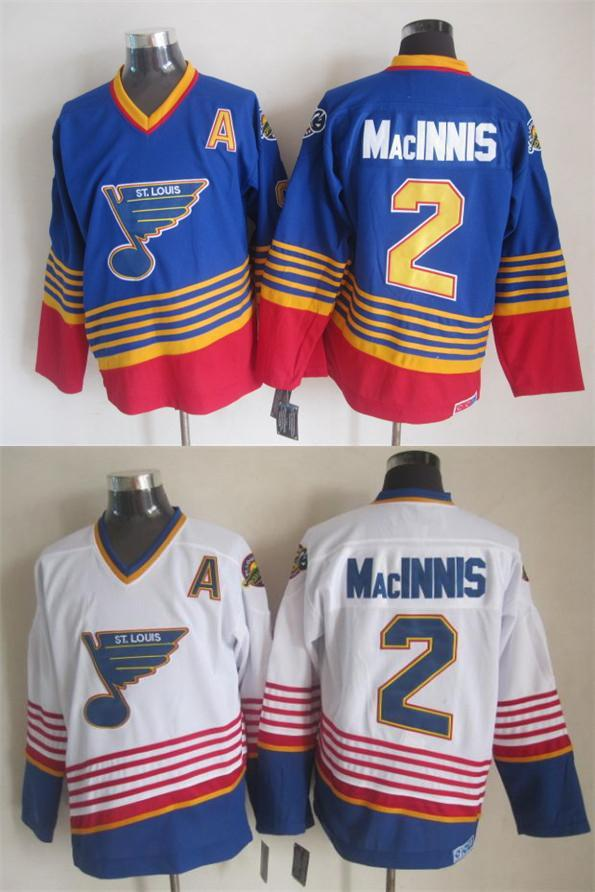 New men #2 Al MacInnis Jersey CCM vintage Worn Jersey royal blue white strips special number Blues MacInnis Jersey(China (Mainland))