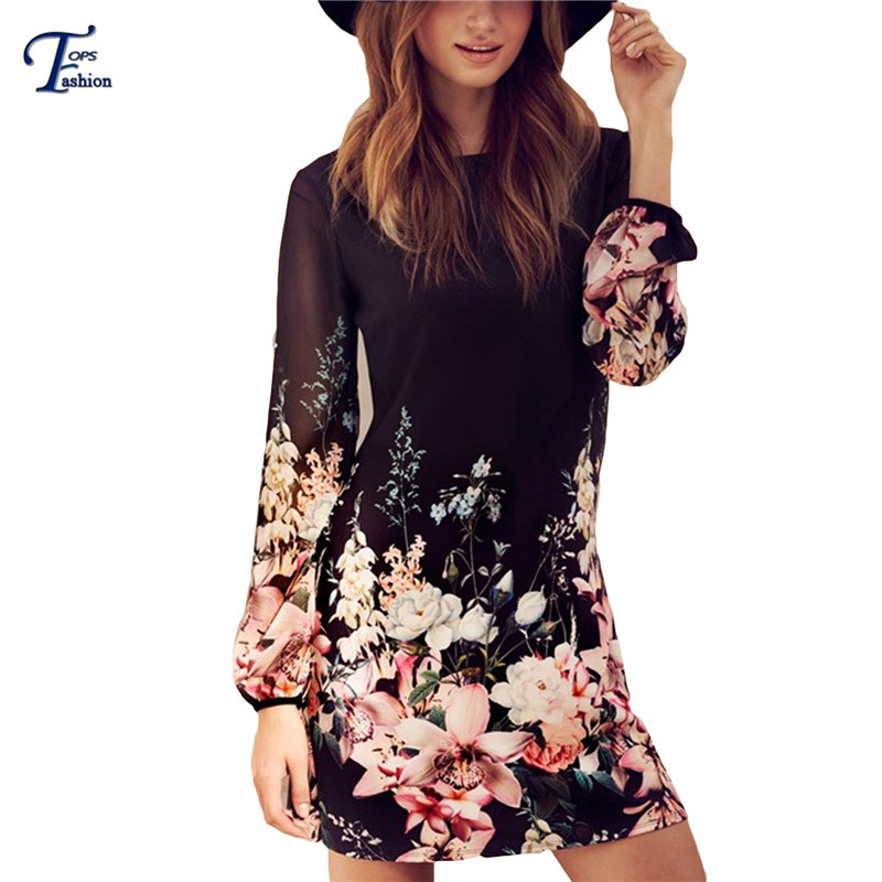 Women Spring Style 2016 Newest Shift Dresses Beautiful Black Long Sleeve Floral Print Round Neck Chiffon Short Dress - TOPS FASHIONS store