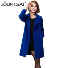 Women's Winter Jackets and Coats Single Button Elegant Warm Women Woolen Coat 2016 Thicken Long-sleeve Women Coat Plus Size(China (Mainland))