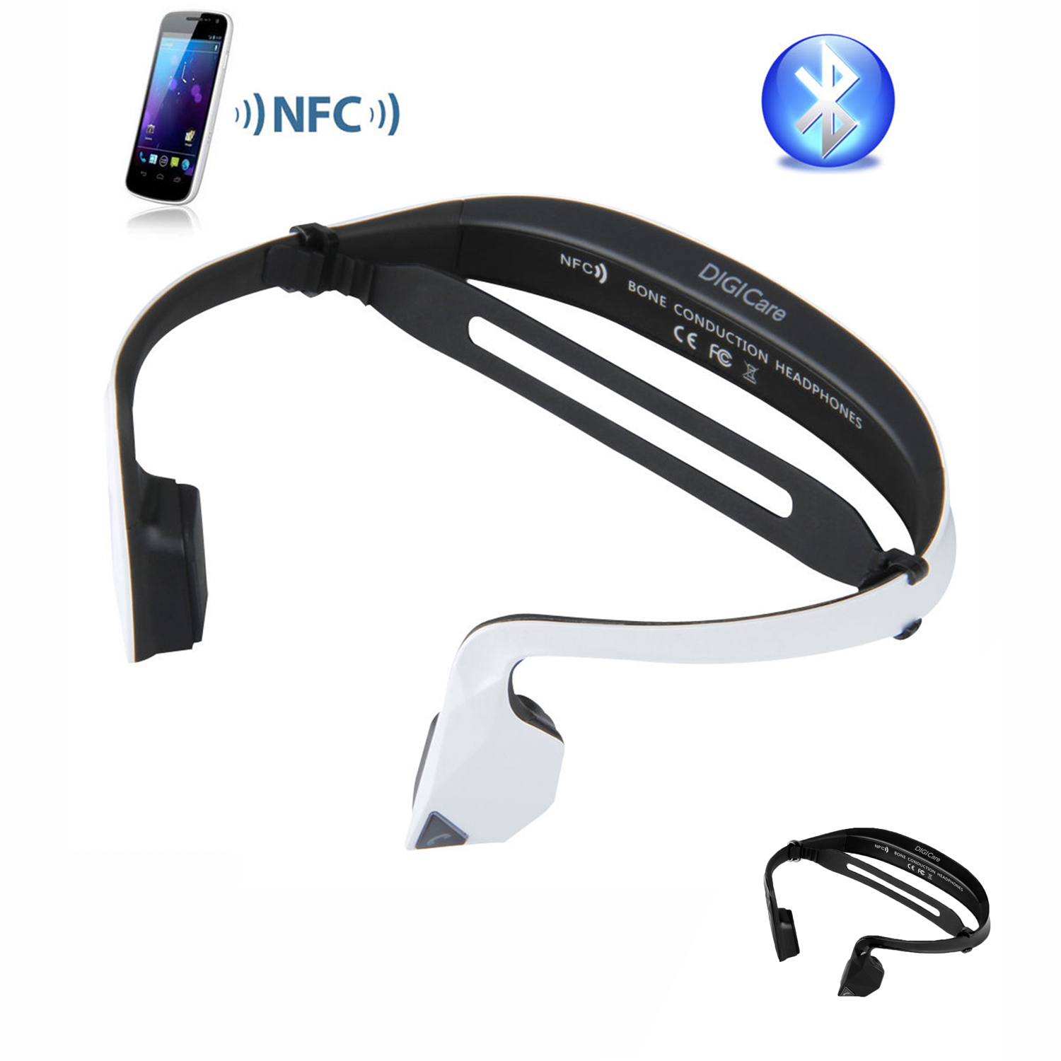 Фотография Wireless NFC Bluetooth Stereo Bone Conduction Headphone Headset with Built-in Microphone Black White