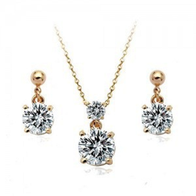 Zircon Necklace Set High Quality Gold Jewelry Set Nickel Free African Jewelry Set(China (Mainland))