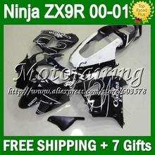 7gifts+Custom KAWASAKI NINJA HOT Black white CORONA ZX9R 00 01 ZX-9R CL1705 9 R ZX 9R 2000 2001 corona 100%NEW Fairin - Motofairing store