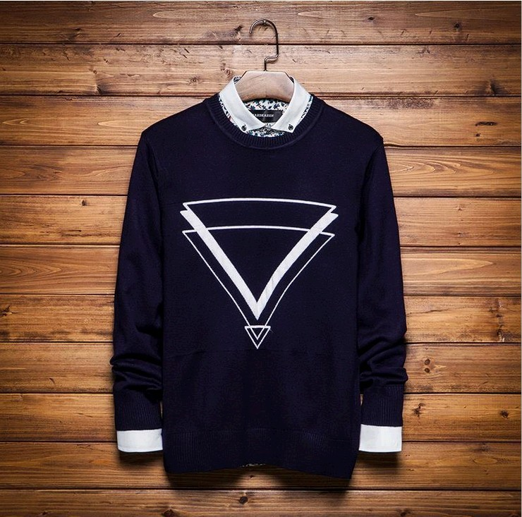 high end Cotton Korean 2015 autumn fashion men thick grey red blue O-neck sweaters C99 free shipping(China (Mainland))