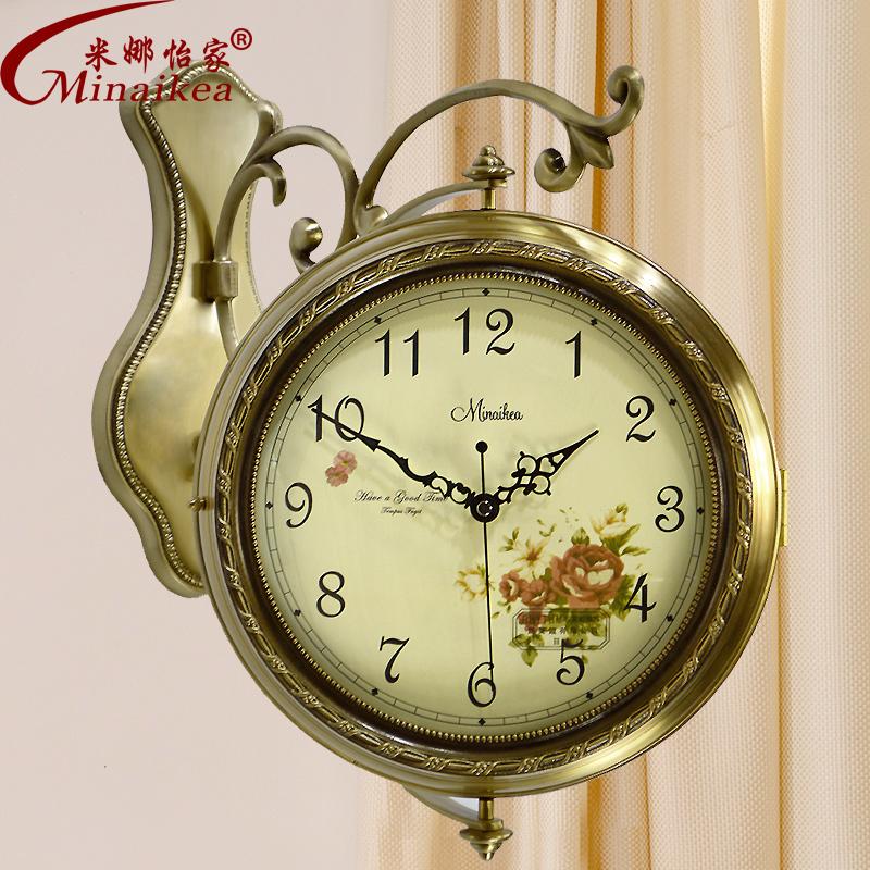 European style double sided copper oversized mute quartz for Modern living room clocks