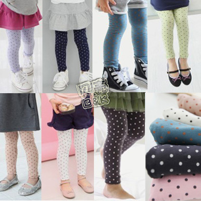 2014 spring polka dot girls clothing baby trousers legging kz-0787