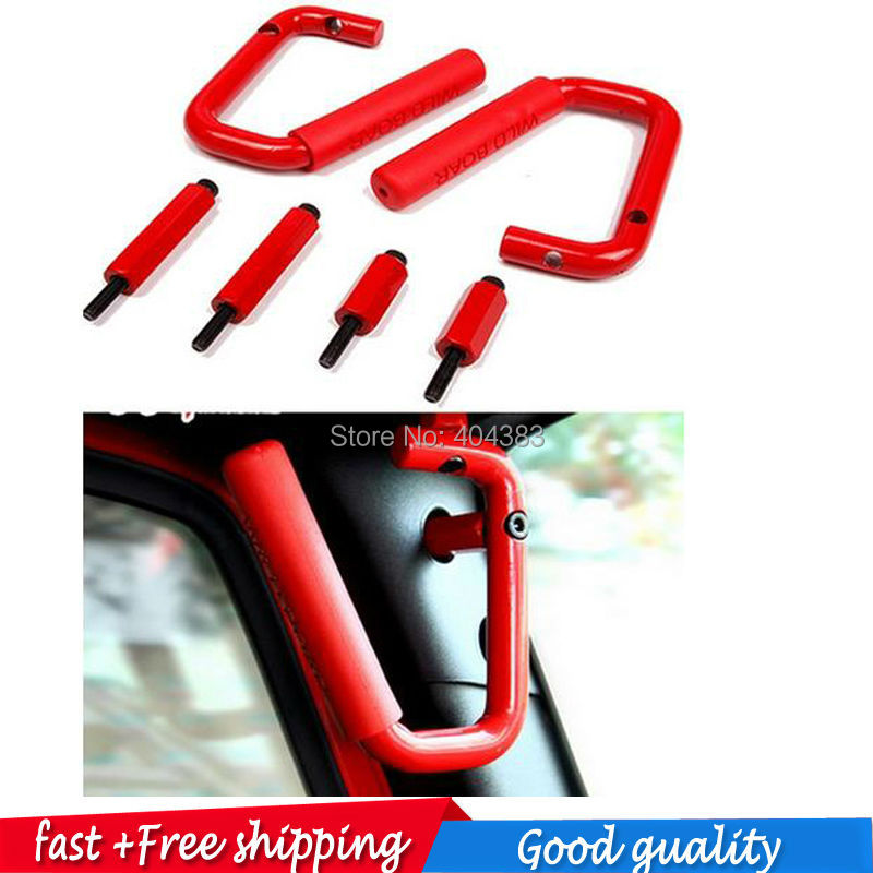 GOOD QUALITY FAST SHIPPING Car Accessories Red Pair Grab Bars 2 & 4 Door Front Grab Handles Fit For Jeep JK Wrangler 2007 -2015