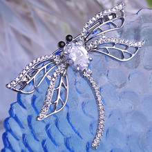 Shiny Brand CZ Diamond Wedding Brooches Kawaii Cute Dragonfly Insect Brooch Bijuterias Colar Sapphire Jewelry Women Broach Unhas