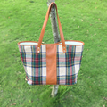 Wholesale Blanks Plaid Fashion Tote Bag with PU Faux Leather Handles Acrylic Wool Material Soft Handbag