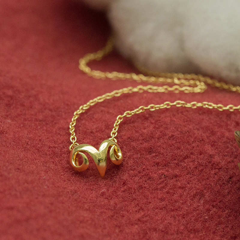2015 Gold and Silver Simple Danity Small Ram's horn Pendant Necklace for Women XL168(China (Mainland))