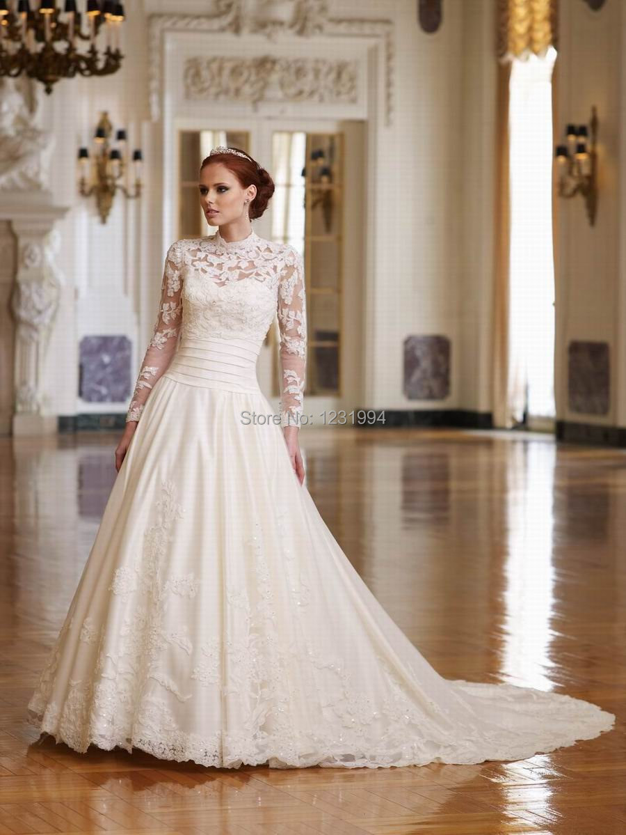turmec » long sleeve high collar wedding dress