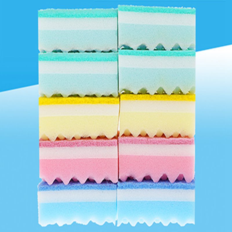 10 PCS Hot-selling kitchen essential color cleaning sponge scouring pad(China (Mainland))