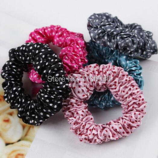 Polka Dot chiffon fabric elastic rubber band hair rope(China (Mainland))