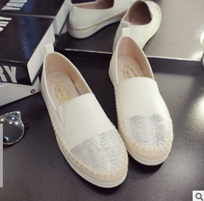 Flats 2016 autumn and summer new female loafers lazy shoes A pedal flat white shoes tide fisherman Loafers Sapatos Round Head(China (Mainland))