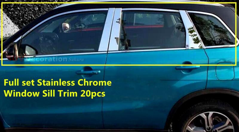 New!! For Suzuki Vitara Escudo 2015 2016 Stainless Chromed Exterior Full Window Sill Trims 20pcs Glossy<br>