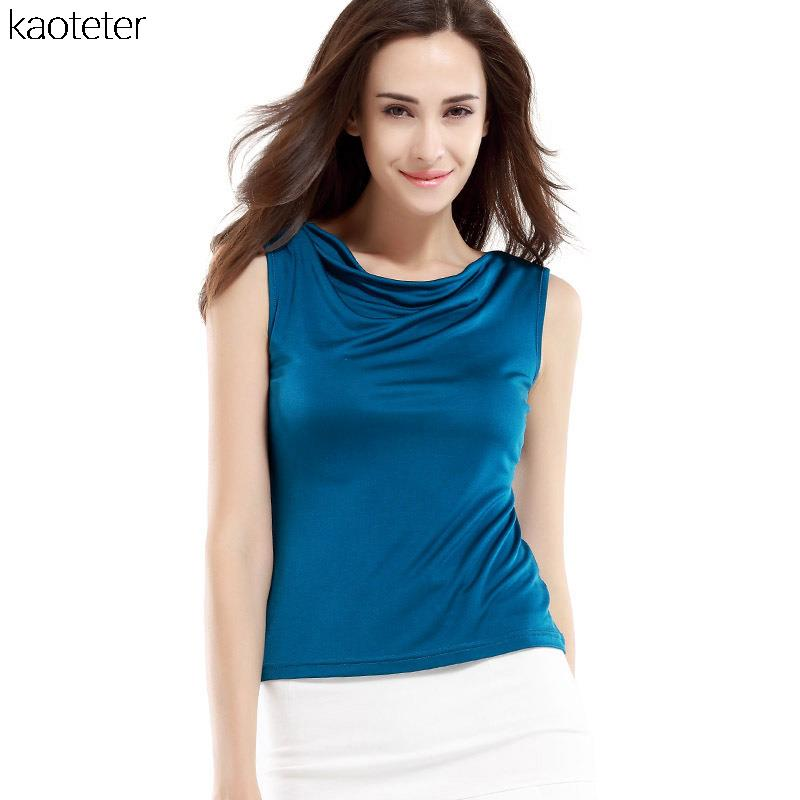 100% Pure Silk Women Tank Vest Tops 2016 Spring Summer Brand New Fashion Everyday Sleeveless Vest Cool Heaps Collar Candy Color(China (Mainland))
