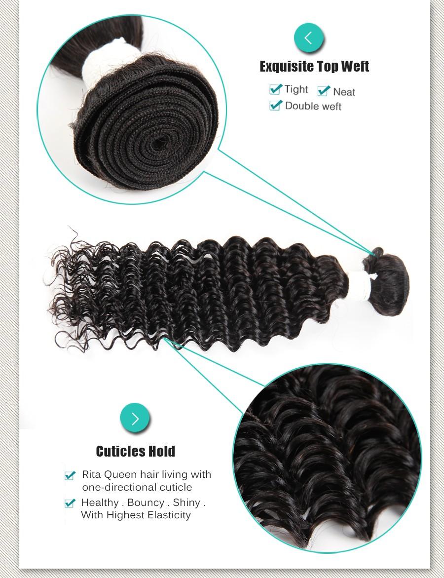 Brazilian Deep Curly Human Hair 50g Deep Curly Weave Virgin Human Hair Bundles #1B Brazilian Deep Curly Virgin Hair Extensions
