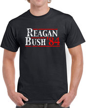 Reagan Bush 84 T Shirt men president election campaign GOP republican USA conservative 80s printed tee US plus size S-3XL(China (Mainland))