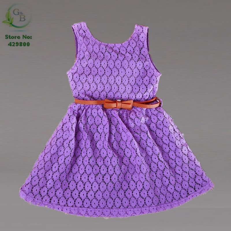 2016 High Fashion Dresses Girls Summer Style Lace Hollow Out Vest Princess Floral Dress For Kids Child Childrens Fancy Dress 12t(China (Mainland))