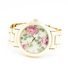 Ginebra relojes de marca reloj de pulsera retro floral de la pulsera de reloj para mujeres