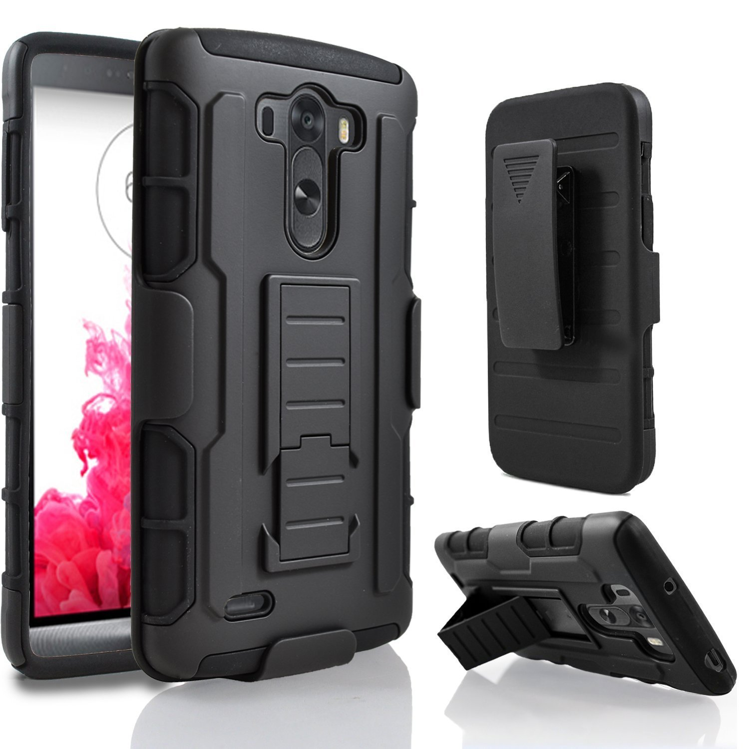 Black Protective Holster Armor Impact Hybrid Shockproof Stand Hard Case For LG G3/G3 Mini S Beat/G3 Stylus Cover With Belt Clip(China (Mainland))