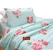 OCE HOME TEXTILE 100% COTTON BEDDING SET In Light Blue Floral Flowers #40-8(China (Mainland))