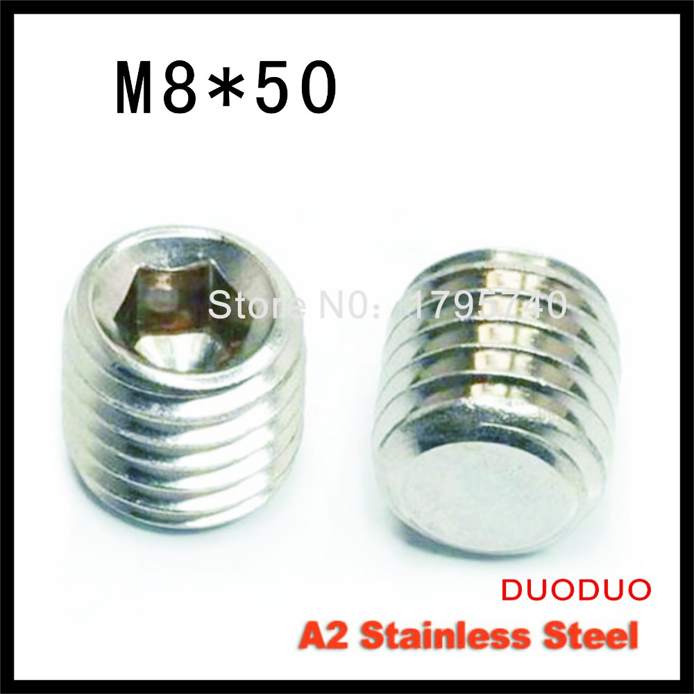 5pcs DIN913 M8 x 50 A2 Stainless Steel Screw Flat Point Hexagon Hex Socket Set Screws<br><br>Aliexpress