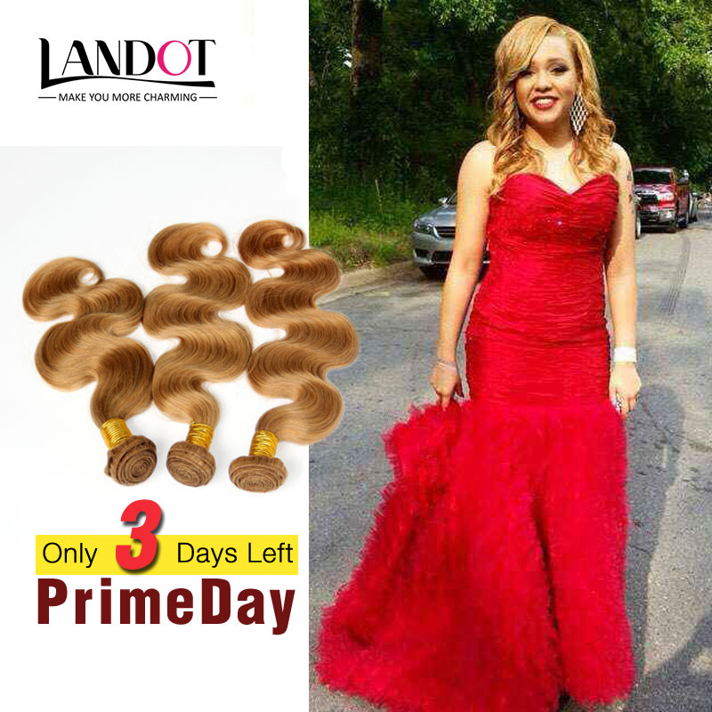Honey Blonde Brazilian Virgin Hair Body Wave Human Hair Weave 3 Bundles Color 27# Grade 7A Brazilian Wavy Remy Hair Extensions(China (Mainland))