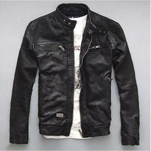 Factory Men Leather Jacket Genuine Real Sheep Goat skin Brand Black Male Bomber Motorcycle Biker Man's Coat Autumn(China (Mainland))