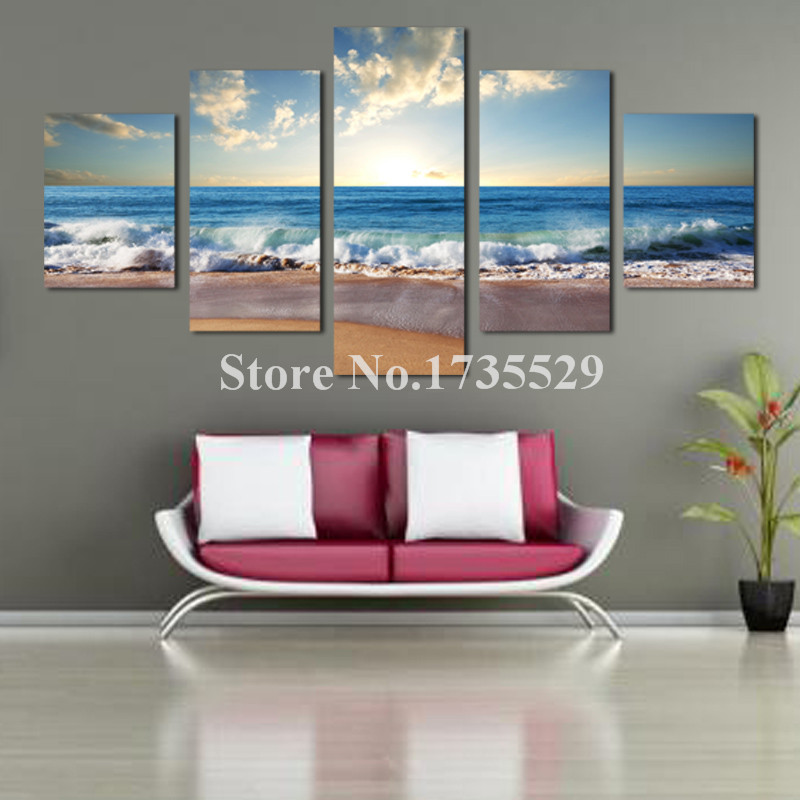 5 Piece Large Modern Seaview Beach Home Wall Decor Canvas Picture Art HD Print Oil Painting On Canvas For Bedroom