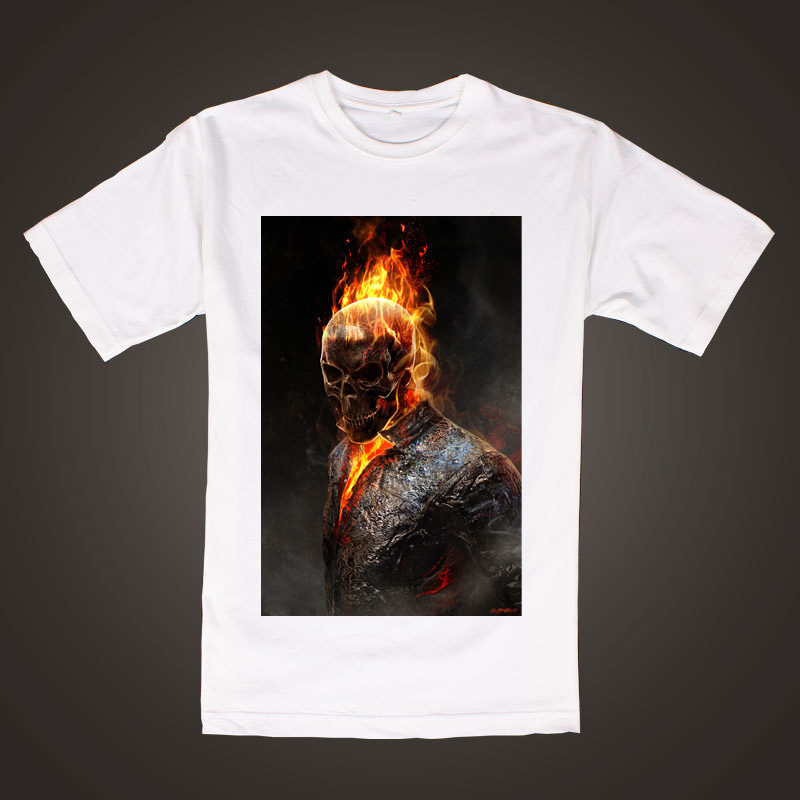 Ghost Rider Break on thru the fire prints shirt comic fans Thick cotton Tee(China (Mainland))