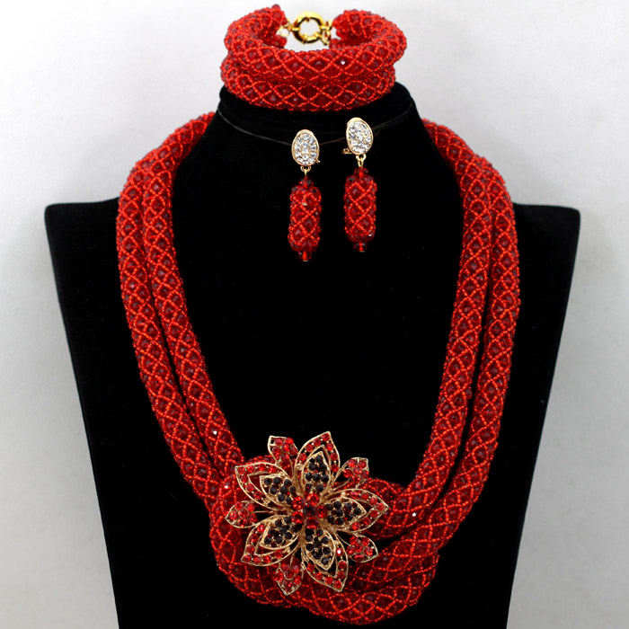 Delicate Wine Red Nigerian Party Beads Necklace Set African Wedding Bridal Jewelry Set Women Gift Beads Set Free Shipping WA509<br><br>Aliexpress