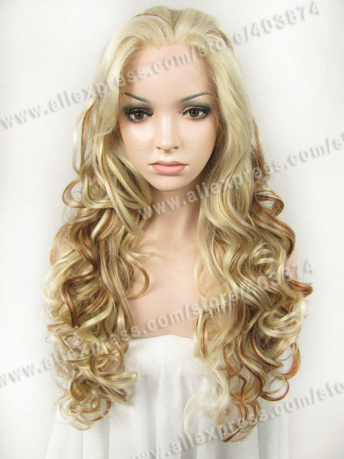 Free Shipping   Retail/Wholesale  N5-1001/613/27R  Multi-Color   Fashion Wavy   Synthetic  Lace Front Wigs<br><br>Aliexpress