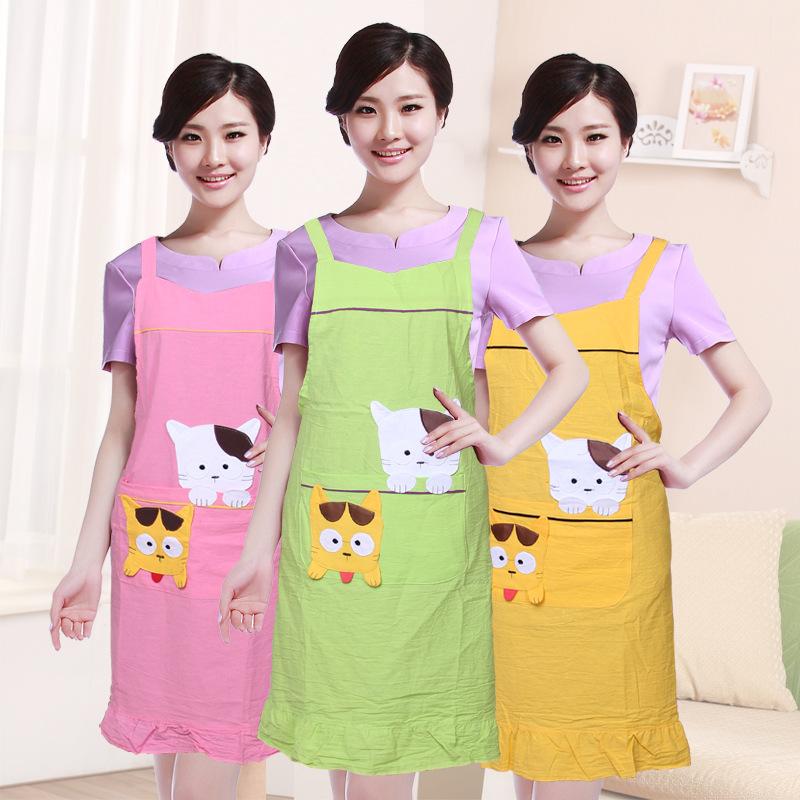 Spring and autumn thin section of South Korean exports of Cotton Apron Korean sleeveless apron kitten short apron(China (Mainland))