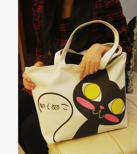 Casual Women Bag Woven Canvas Bag Cute Cat Shopping Bag Office Lady Lunch Bag TPD69(China (Mainland))