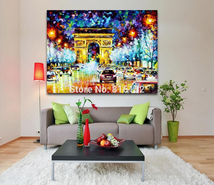 Buy 100% Handpainted Triumphal Arch Palette Oil Knife Canvas Painting Modernism Europe Architecture Art Home Office Wall Decorations cheap