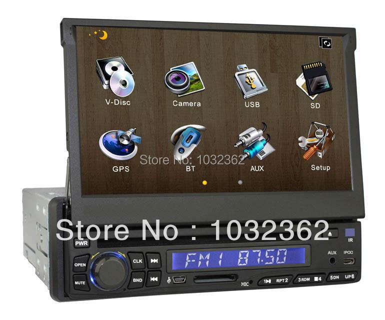 Free shipping- single DIN 7 inch universal car DVD player with GPS, bluetooth, radio, RDS, TV, SD, USB,etc(China (Mainland))
