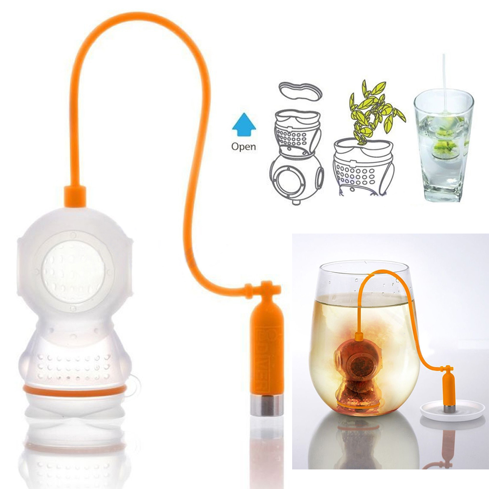 Гаджет  2015*Deep Tea leaf Infuser Diver Loose Strainer Bag Scuba teapot strainer Diving Filter Diffusers raspberry reading*hot None Дом и Сад