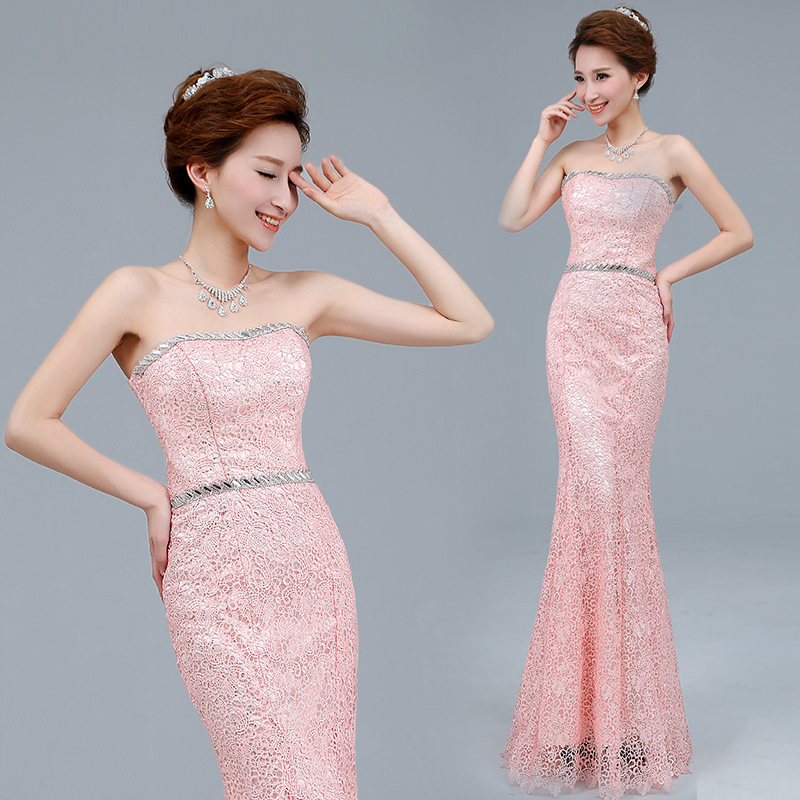 2015 Hot Sale Sweetheart Neckline Strapless Floor Length Mermaid Lace Wedding Party Dress