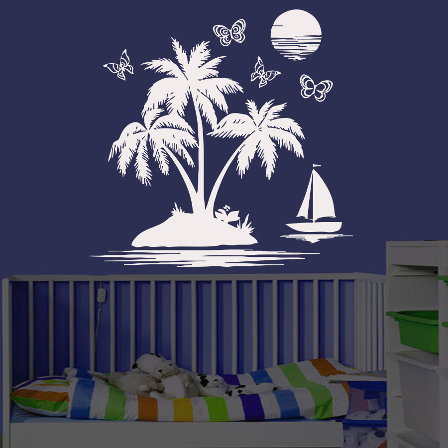 Diy home decor wall sticker palm tree sailboat butterflies and moon