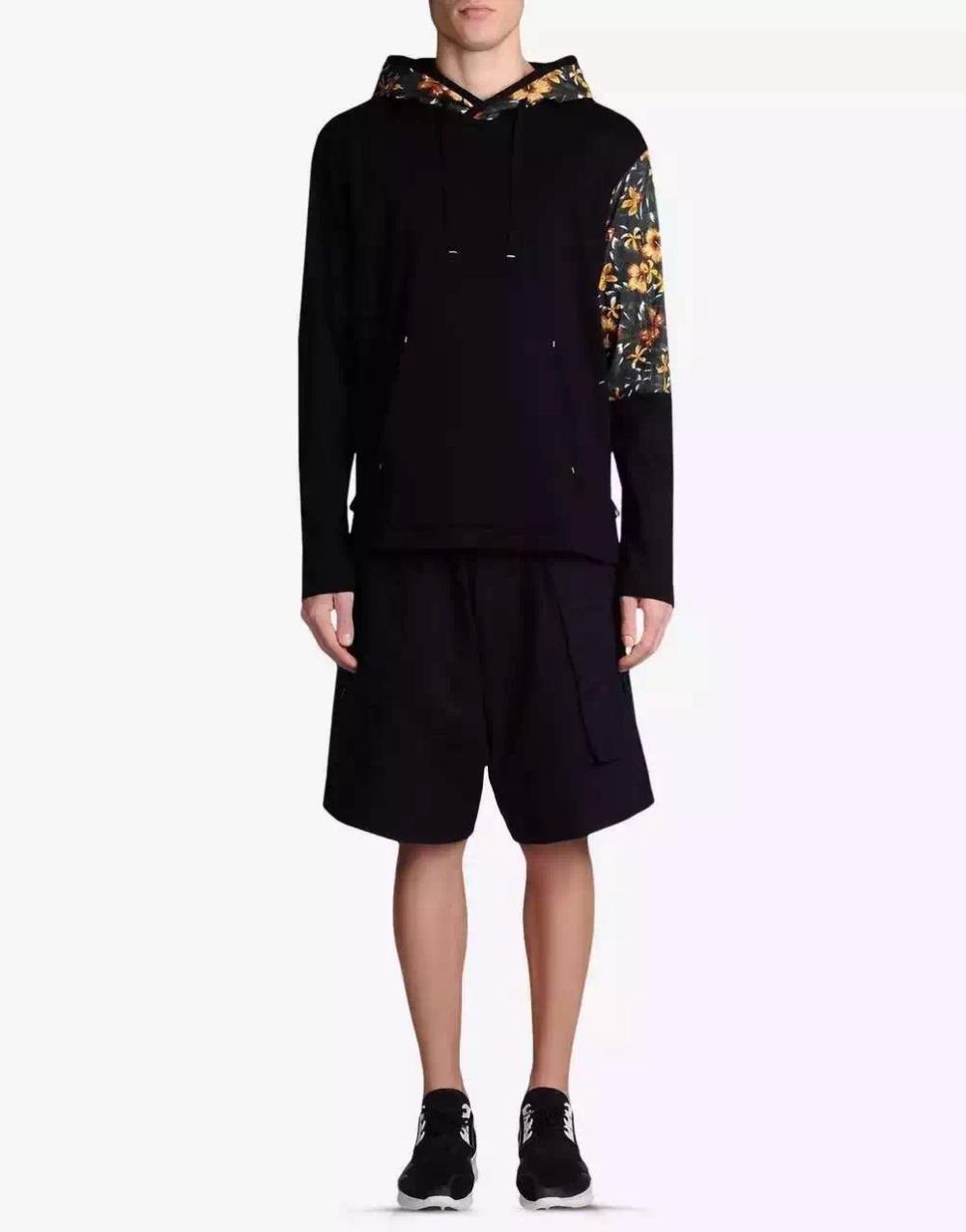 Y3 Men's Hoodie Flower printed Hooded long sleeve Brand men 100% cotton Sweatershirt Hoodies Outwear black M-XXXL(China (Mainland))