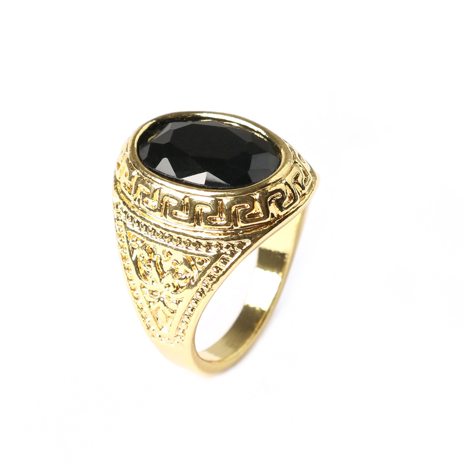 Big antique finger rings black gem ring for men gold Vintage style fashion rings