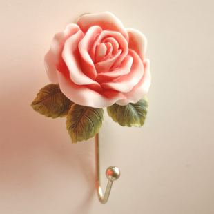 Fashion hooks rustic rose resin iron wall hook home decoration clothes hanging hooks(China (Mainland))