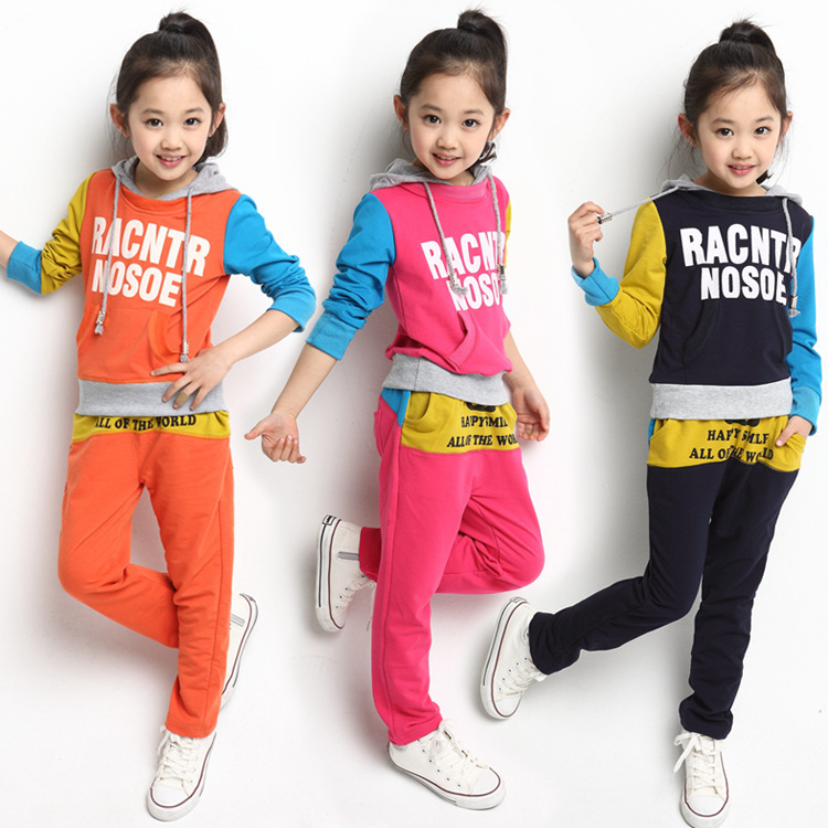 2014 New Autumn 4-14Y Kids Clothes Sets Fashion Letter Children Hoodies&Pants Sports Suit Long Sleeve Girls Clothing C20W22 - SNOW LOVE store