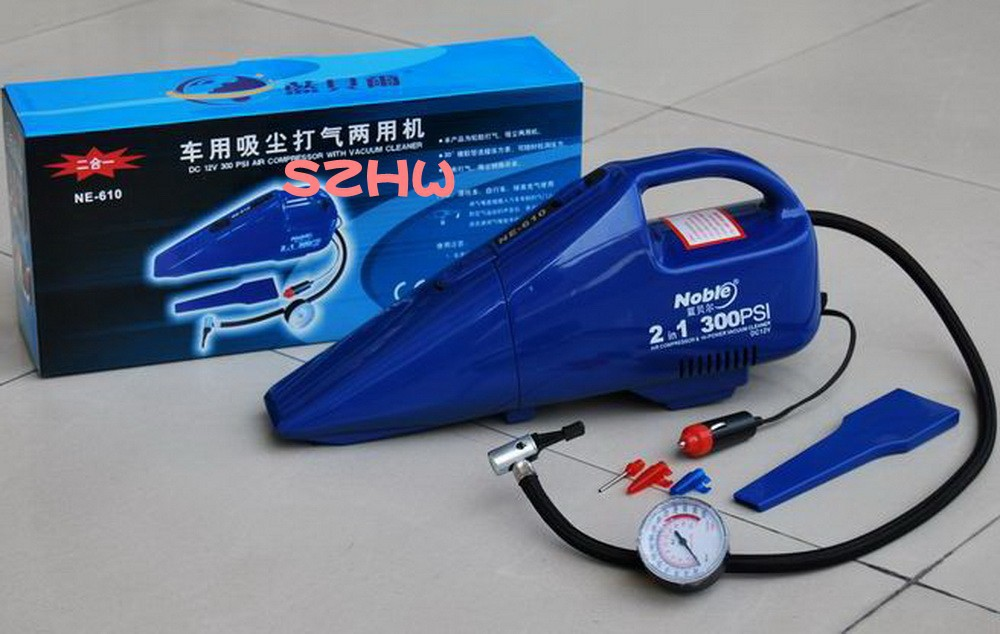 HKnoble Multi-functional 12 V automobile cleaner, auto air pump 610,car vacuum cleaner,150 PSI, Car tyre tool,car air pump(China (Mainland))