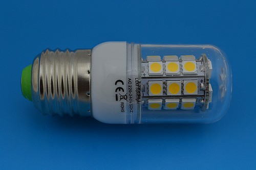 Hot Sale 5pcs/lot E27/E14/G9 27 LED 5050 SMD 7W High Power LED Corn Bulb White / Warm White LED Lamp 220V Shipping Free