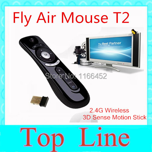 Gyroscope mini Fly Air Mouse T2 2.4G Wireless Keyboard Mouse Android remote control for android tv box cs918 mag250 Q7(China (Mainland))