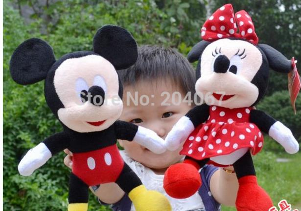 Promotion !New Hot 30cm Lovely Mickey Mouse And Minnie Stuffed Animal 1PCS girls doll plush toys for XMAS Gift baby toys(China (Mainland))