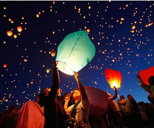 10 Pcs Multicolors Paper SKY LANTERNS child toys party supplies Flying Paper Sky Lanterns Free Shipping Paper Chinese Lanterns(China (Mainland))
