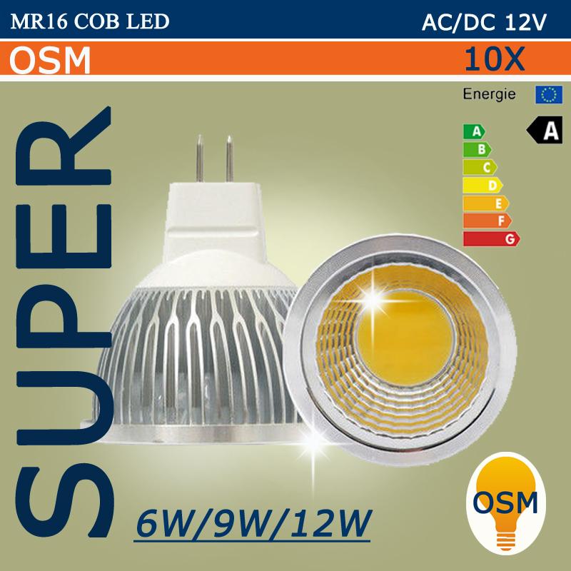 Free shipping 10PCS MR16 12V GU5.3 220V 6W 9W 12w COB LED BULB High Power Led cob Light Bulbs(China (Mainland))