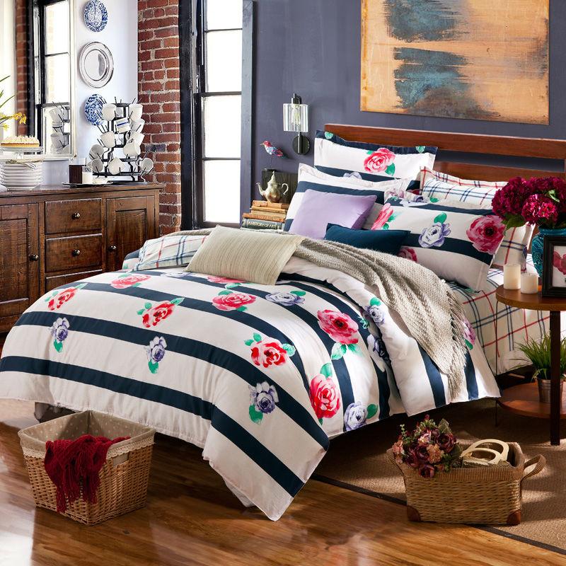 Red roses black white stripe bedding set 4pcs 100%cotton for queen size duvet cover set bed sheet quilt bedclothes comforter set(China (Mainland))
